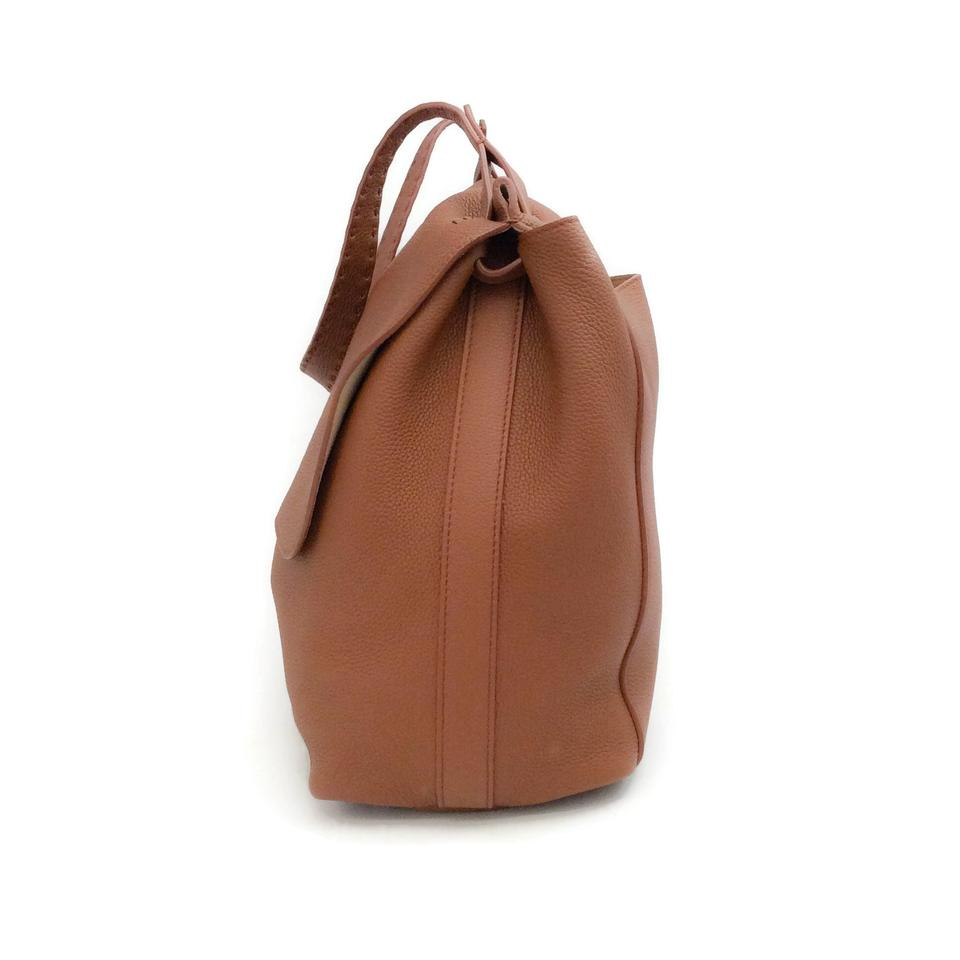 6d1a06ac7257 The Row Top 14 Saddle Brown Pebbled Leather Shoulder Bag - Tradesy