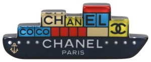 Chanel New 2018 Boat Pin Brooch CC Logo Black yellow blue red pearl anchor