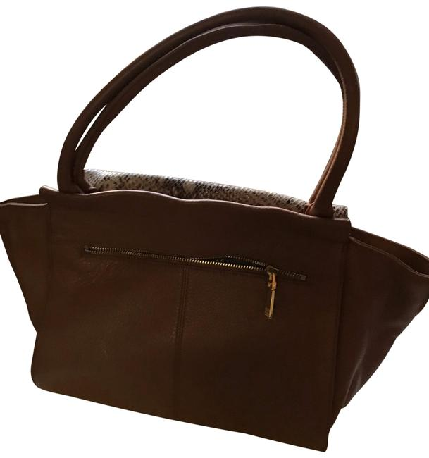 Item - Brown Cream and Lizard Skin Leather Tote