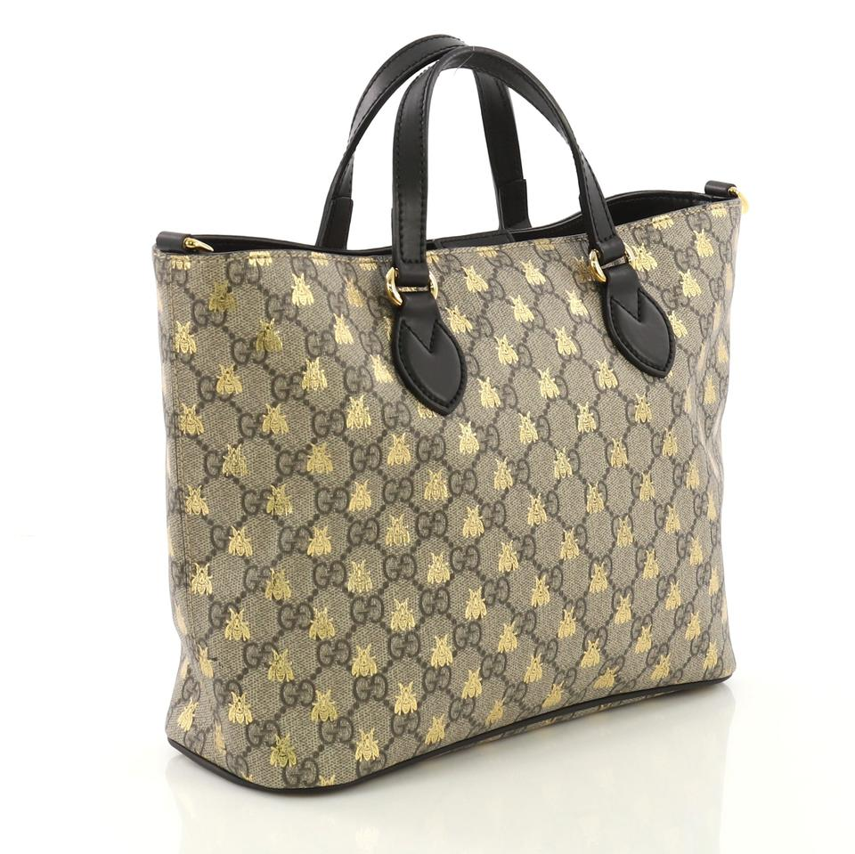 cfb934feb83c Gucci Convertible Soft Printed Gg Coated Small Brown and Black Canvas  Leather Tote - Tradesy