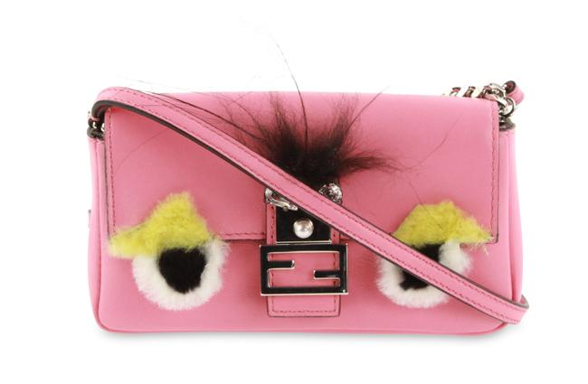 Item - Micro Monster Fur Pink Leather Baguette