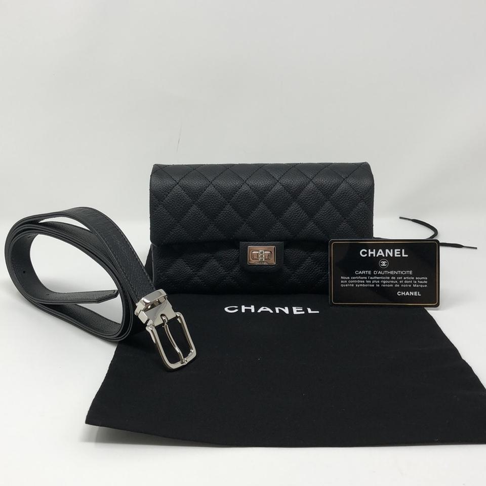 793a3584daef Chanel 2.55 Reissue Grained Calfskin Quilted Flap Belt Black Leather Clutch  - Tradesy