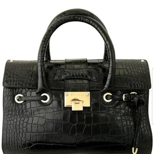 Jimmy Choo Satchel in Glossy crocodile embossed leather black with gold hardware