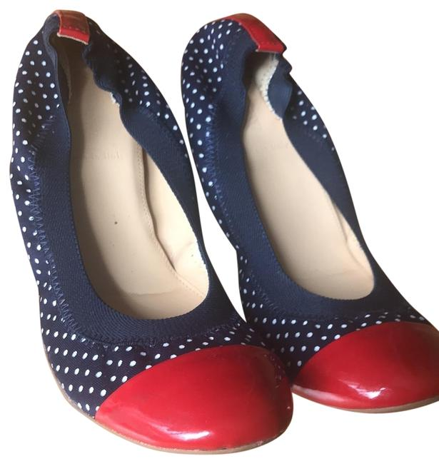 Item - Navey Dots with Red Patent Toe and Heel 18909 Flats Size US 6.5 Regular (M, B)