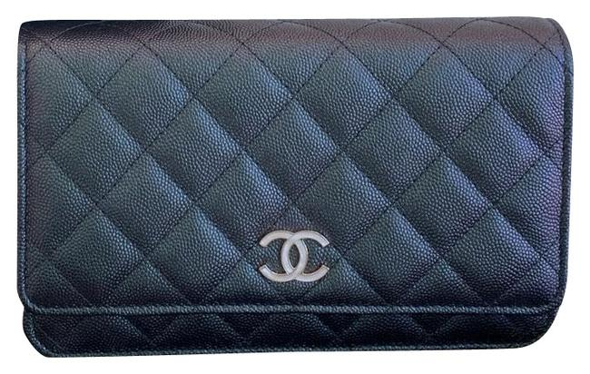 Item - Wallet on Chain Iridescent Black Green Blue Unicorn Leather Clutch