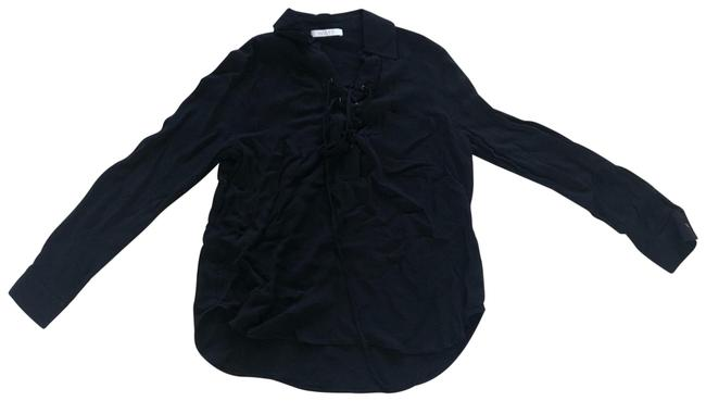 Item - Black Front Tie Collared Longsleeve Blouse Size 8 (M)