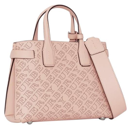 Burberry Small Banner Perforated Leather Tote Soft Blush Cross Body ... 94e3805699043