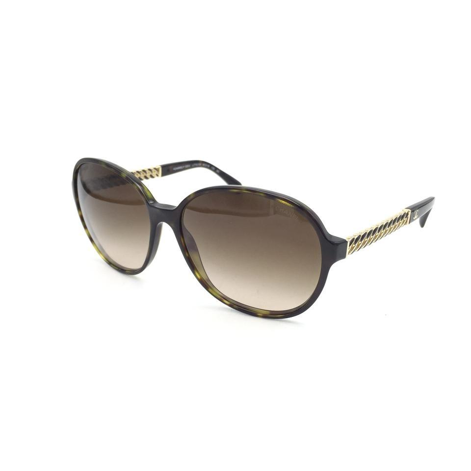 a8437079c4 Chanel Oval Tortoise Gold Chain Brown Gradient Sunglasses 5304 c.714 S5  Image 0 ...