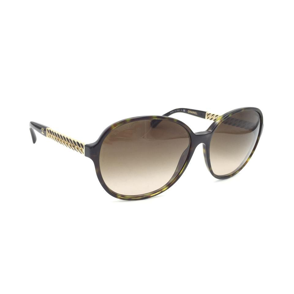 265558c7d2 Chanel Oval Tortoise Gold Chain Brown Gradient Sunglasses 5304 c.714 S5  Image 9. 12345678910