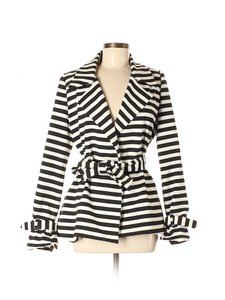 G.E.T. Outerwear Trench Striped Wrap Belted Black White Jacket