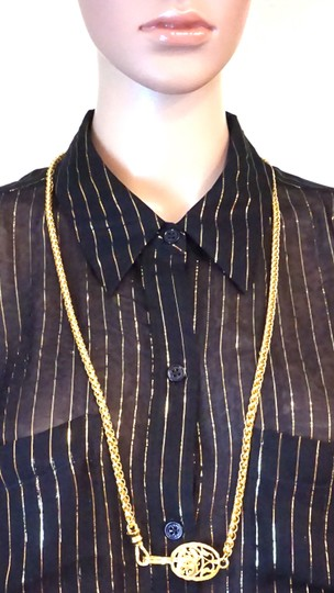 Chanel RARE CC cutout single chain long gold necklace belt two way Image 1