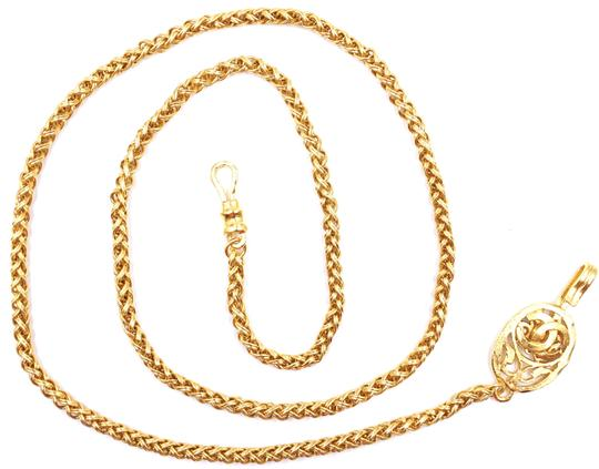 Chanel RARE CC cutout single chain long gold necklace belt two way Image 3
