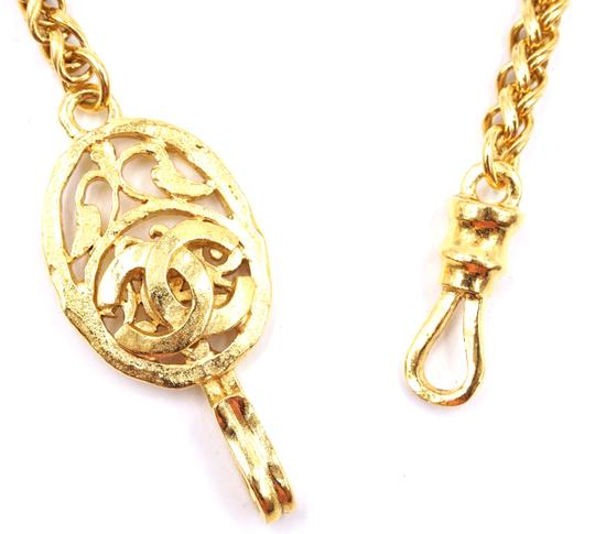 Chanel RARE CC cutout single chain long gold necklace belt two way Image 4