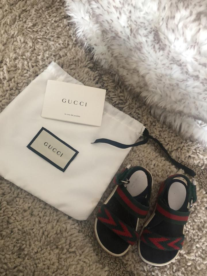3f9b15844 Gucci Green and Red Chevron Leather Sandals Size US 4 Regular (M, B ...