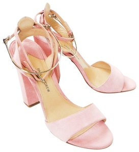 Paul Andrew Suede Gold Hardware Pink Sandals