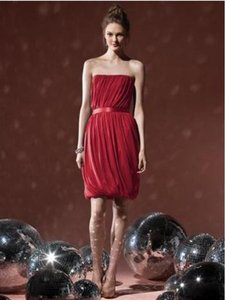 Dessy Red Chiffon 8108 Sexy Bridesmaid/Mob Dress Size 16 (XL, Plus 0x)