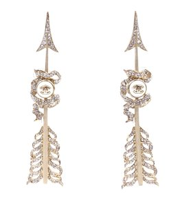 Chanel ULTRA Rare CC crystals gold Arrow clip on earrings ear cuffs