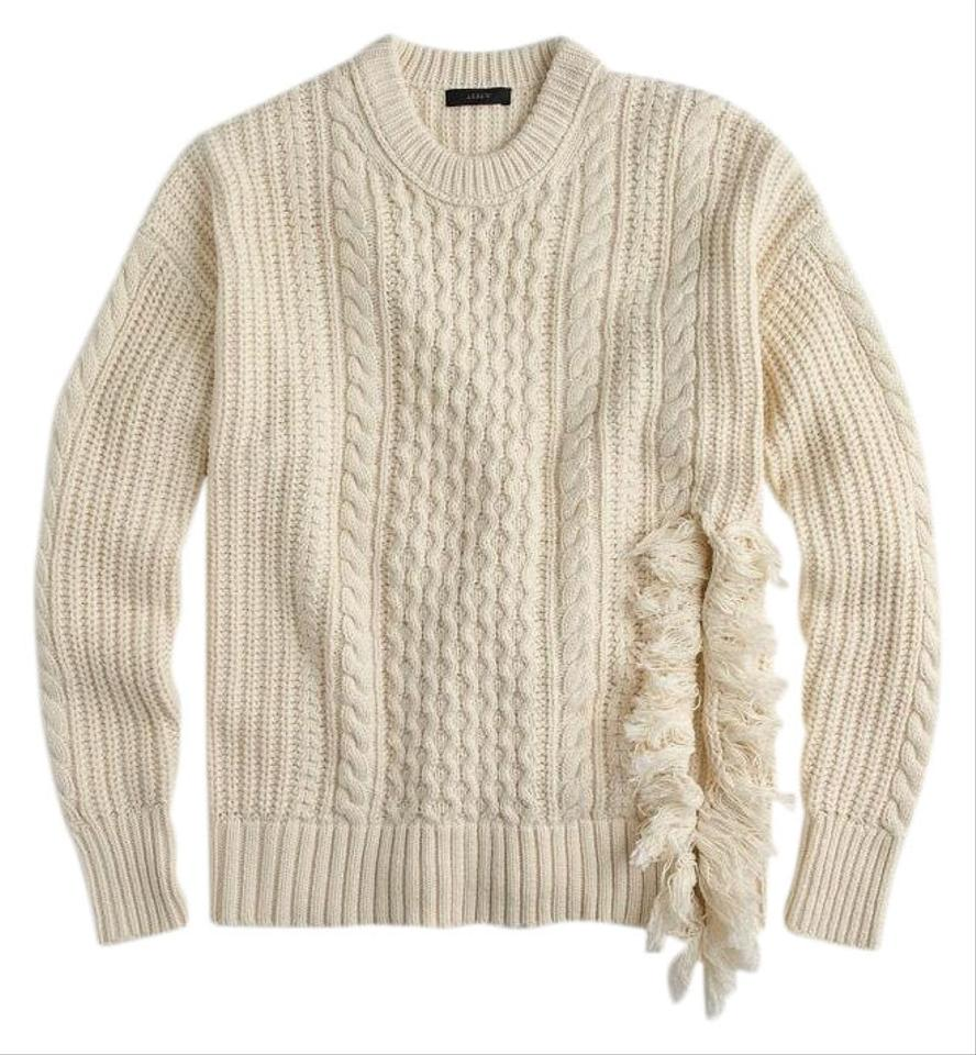 64ed67e9629d49 J.Crew Cableknit with Fringe Beige Sweater - Tradesy