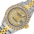 Rolex Ladies Datejust Ss/Yellow Gold w/ Champagne String Diamond Dial watch Image 0