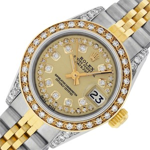 Rolex Ladies Datejust Ss/Yellow Gold w/ Champagne String Diamond Dial watch