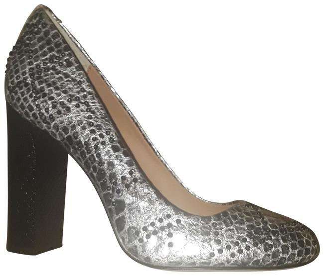 Item - Silver/Black Junie Foiled Snake Pumps Size US 7 Regular (M, B)
