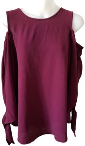 Moa Moa Dark Angel Sleeves Open Shoulder Large Top Wine
