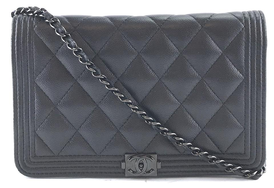 45fec9f79fe0bc Chanel Clutch Wallet on Chain #28657 Timeless Cc Woc Quilted Single Flap  Ultra Rare So-black So Black Caviar Leather Cross Body Bag