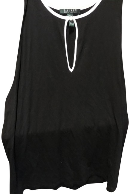 Item - Black with White Piping On Collar Keyhole Sleeveless. Blouse Size 16 (XL, Plus 0x)