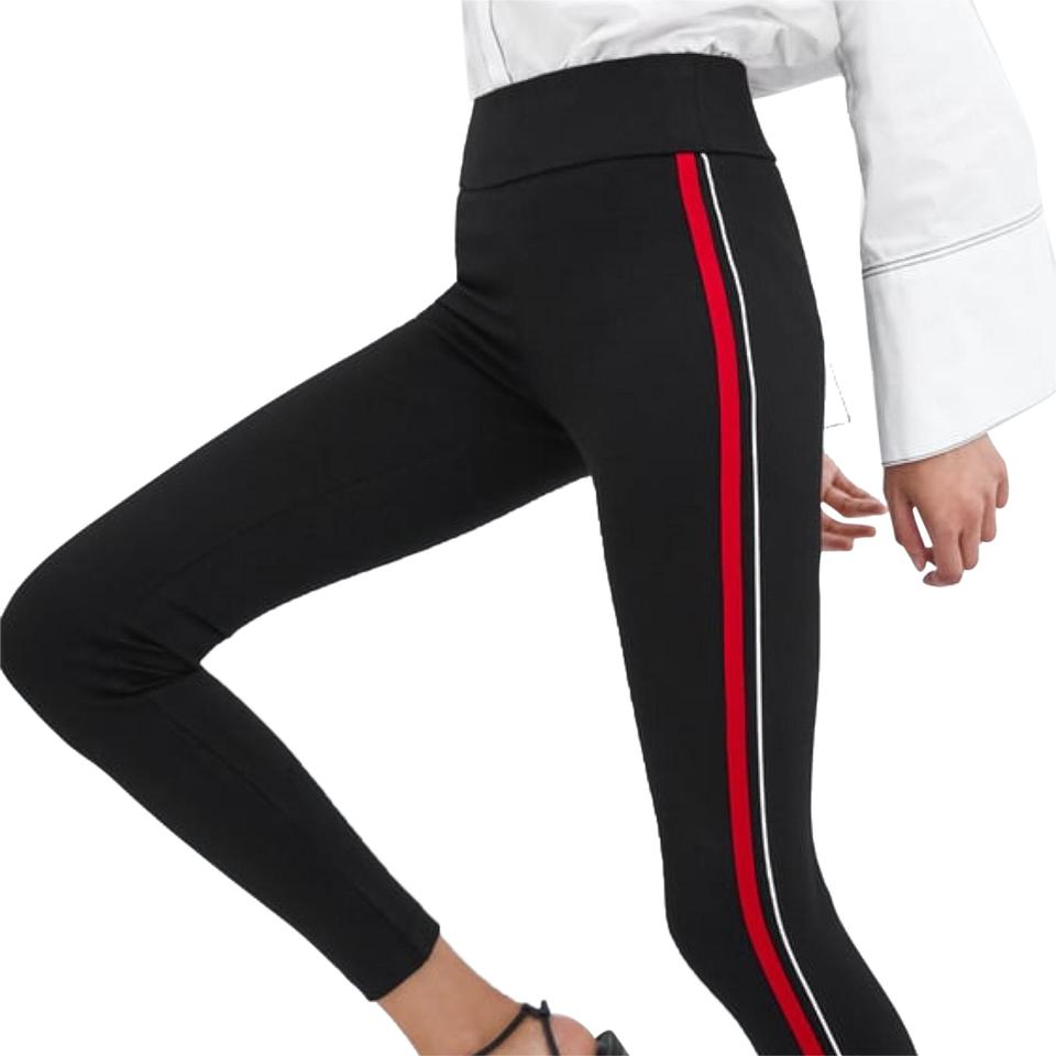 e234afbd Zara Black Red Mid Waist Featuring Contrasting Stripes Leggings Size ...
