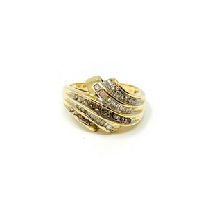 Other 14k Yellow Gold .4ct Round and Baguette Cut Diamond Ring Size 9