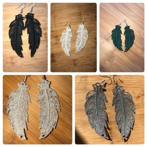 Handcrafted Embroidered Lace Feather Earrings