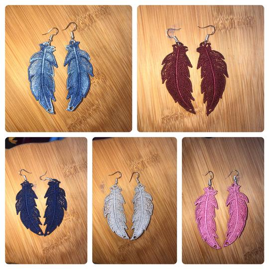 Handcrafted Embroidered Lace Feather Earrings Image 1