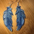 Handcrafted Embroidered Lace Feather Earrings Image 2