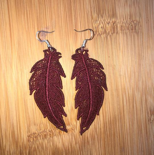 Handcrafted Embroidered Lace Feather Earrings Image 3