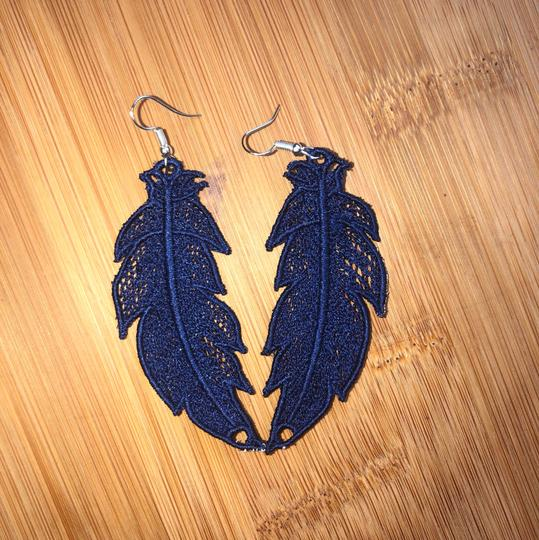 Handcrafted Embroidered Lace Feather Earrings Image 5