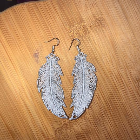Handcrafted Embroidered Lace Feather Earrings Image 6
