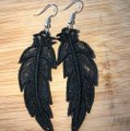 Handcrafted Embroidered Lace Feather Earrings Image 9