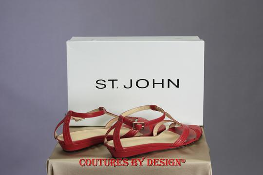 St. John Leather Red Sandals Image 1