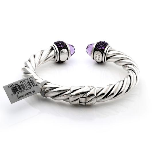 David Yurman Amethyst Sterling Silver 9mm Thick Cable Cuff Bangle Bracelet Image 1