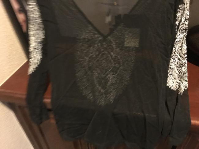 The Limited Sequins Sequins New Tags Top Black with white etching Image 3