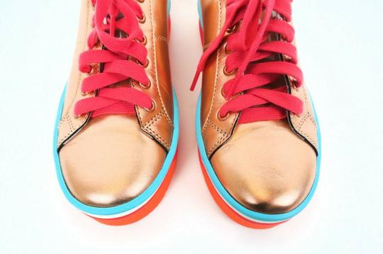 Marc Jacobs Metallic Platform Leather Peach / Pink / Blue Athletic Image 4