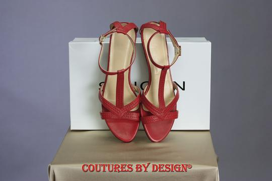 St. John Leather Red Sandals Image 2