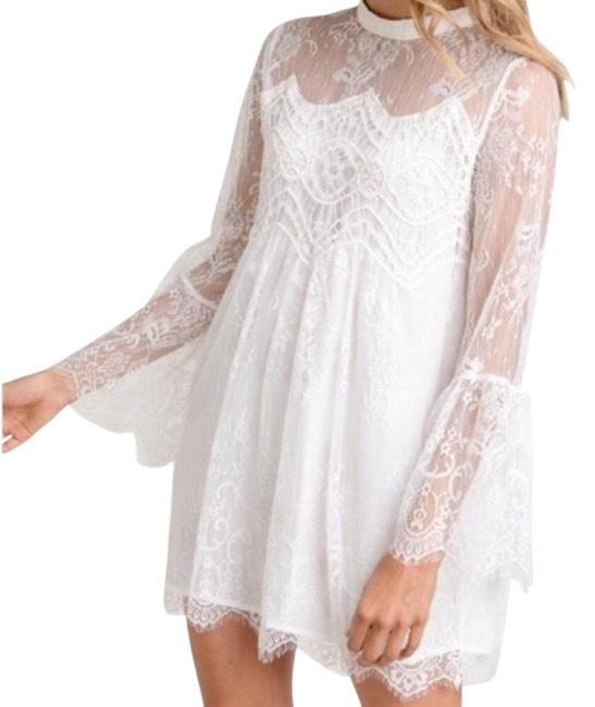 Preload https://img-static.tradesy.com/item/25110664/lace-bell-cuff-high-neck-short-casual-dress-size-6-s-0-1-650-650.jpg