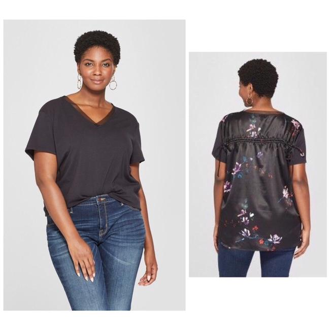Preload https://img-static.tradesy.com/item/25110673/ava-and-viv-floral-ruched-back-sleeve-black-tee-shirt-size-20-plus-1x-0-1-650-650.jpg