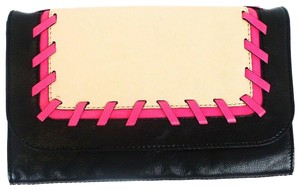 MILLY Stitch Leather Silver Hardware Front Flap Pink / Beige / Black Clutch