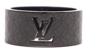 Louis Vuitton RARE LV logo cutout textured quilted wide band ring 9mm wide