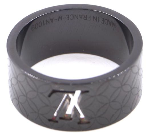 Louis Vuitton RARE LV logo cutout textured quilted wide band ring 9mm wide Image 2