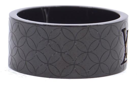 Louis Vuitton RARE LV logo cutout textured quilted wide band ring 9mm wide Image 5