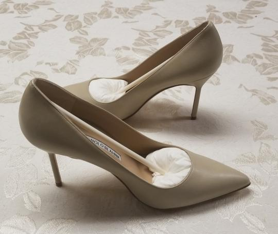 Manolo Blahnik Bb Pointy Toe Heels Napa Leather Beige Pumps Image 1