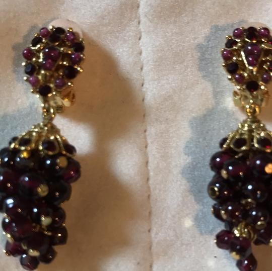 Jose & Maria Barrera Limited Jose and Maria Barrera Garnet Cluster Clip on Earrings Image 3